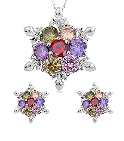 findout ladies blue / white / pink / amethyst / multicolor crystal snowflake pendant necklace + earrings set . .for women girls,(f1634)