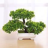 SYHOME Artificiale fiori finti di plastica piante verdi albero di Bonsai Desktopdecor,verde 28*18cm