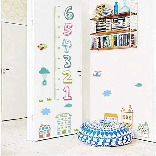 fqz93in Tapete Wandaufkleber Wandbild Fensteraufkleberkinder Zahlen Höhe Messung Wandaufkleber Für Kinderzimmer Wohnkultur Cartoon Haus Wachstum Chart Wandtattoos PVC Wandkunst