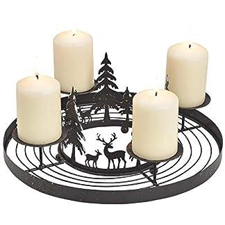matches21-Metall-Adventskranz-mit-4-Kerzenhaltern-Wald-Hirsche-Adventsgesteck-zum-Ausschmcken-schwarz–30×13-cm