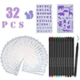 Qfun Bullet Journal Zubehör,Zeichenschablonen Bullet Journal Sticker Schablone 20 Stück Kunststoff Malen Multifunktionale Zeichnung Lineal für DIY-Scrapbooking, Malerei, Zeichnen, Bastelzubehör