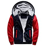 Herren Winterjacke,Moonuy Herren Boy M-5XL Hoodie Winter Warm Fleece Reißverschluss Pullover Charme Stilvolle Jacke Patchwork Hot Outwear Baumwollmantel in grau, rot, schwarz (Rot, 3XL)