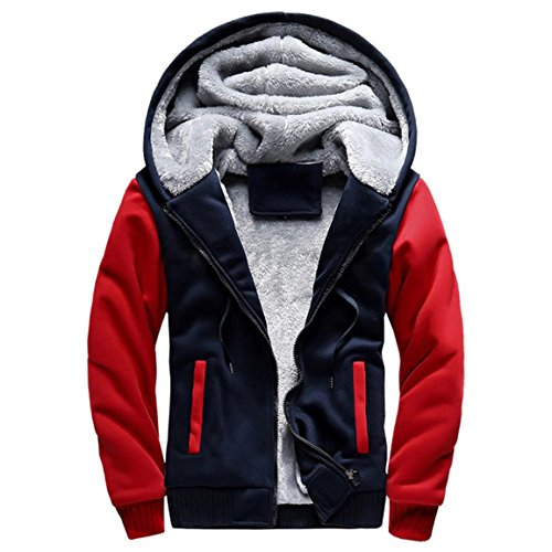 Herren Winterjacke,Moonuy Herren Boy M-5XL Hoodie Winter Warm Fleece Reißverschluss Pullover Charme stilvolle Jacke Patchwork Hot Outwear Baumwollmantel in grau, rot, schwarz (Rot, M)