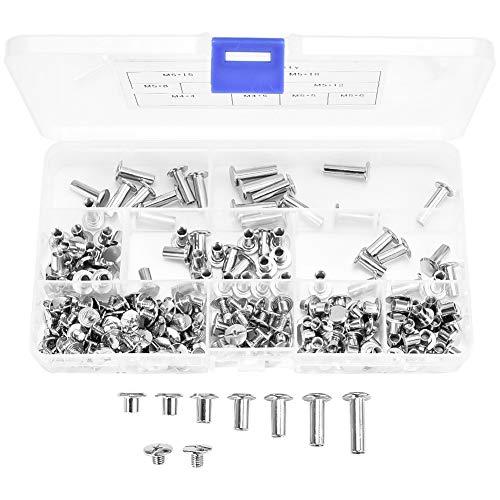 230 stück Chicago Bindung Schrauben kits 7 Größen Metall-Rundkopf Befestigungs schrauben-Nieten für DIY Lederdekoration Buchbinderei - 5 mm x (5/6/8/10/12/15/18 mm)