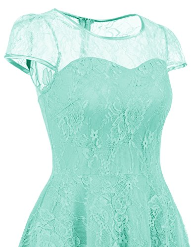 Dresstells Brautjungfernkleid Cap Sleeves Kleid Aus Spitzen Spitzenkleid Knielang Abendkleid Mint