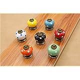 Beautiful Life * 7 Pcs Meubles Knauf boutons de meuble Doorknob en céramique Poignée de meubles avec des vis 7 Pumpkin Colorful Couleur