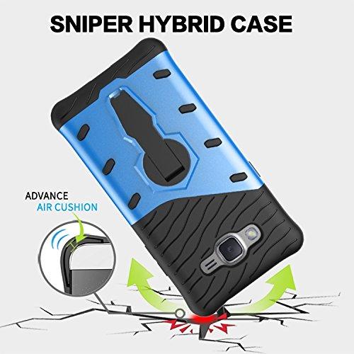 YHUISEN Galaxy J2 Prime Case, Hybrid Tough Rugged Dual Layer Rüstung Schild Schützende Shockproof mit 360 Grad Einstellung Kickstand Case Cover für Samsung Galaxy J2 Prime / Grand Prime Plus ( Color : Biue