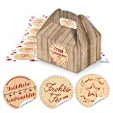 24 Weihnachten Geschenkkarton Natur braun Schachtel Geschenk weihnachtlich 9 x 12 x 6 cm + 24 runde rote Weihnachtsaufkleber - Verpackung Weihnachtsgeschenke Kunden give-away