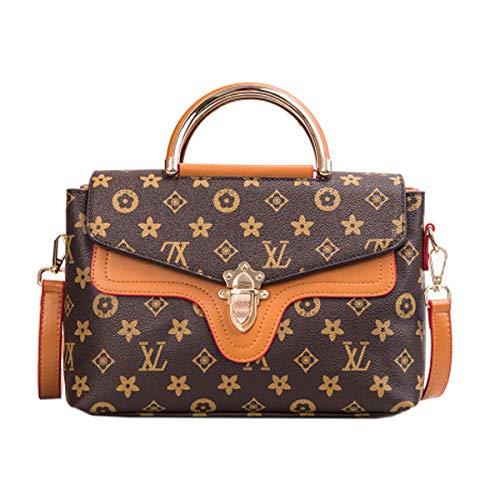 Mode Retro alte Blume Schulter Diagonale Paket XL Brief Handtasche mit Cover Lock Hit Farbe Handtasche (karamell, 26 * 20 * 13 * 8cm)