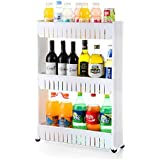 3 Tier Slim Side Kitchen Storage Organizer Rack with Wheels, White (3 Layer)