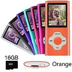Ueleknight Lecteur MP3 MP4 avec Carte Micro SD 16G, Lecteur de Musique Numérique Portable/Vidéo/E-Book/Visualisation d'images, Lecteur de Musique économique avec écran de 1,8 Pouces -Orange