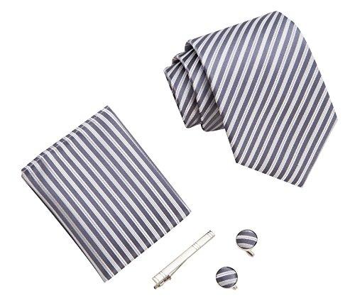 Herren Krawatten set mit ManschettenKnöpfe, Einstecktuch und Krawatte Bar Geschenk Set (grau silber streifen) (Herren Streifen Silber)