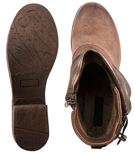 Elara Damen Biker Boots | Metallic Prints Schnallen | Nieten Stiefeletten Lederoptik | Gefüttert Khaki -