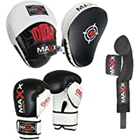 Blk/White Curved Focus pads, Hook & Jab Pads with Gloves & FREE hand wraps