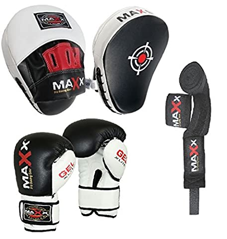 Blk/White Curved Focus pads, Hook & Jab Pads with Gloves