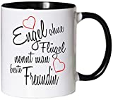 Mister Merchandise Kaffeebecher Tasse Engel ohne Flügel nennt man beste Freundin BFF Freund Mädchen Freundschaft Friends Teetasse Becher Weiß-Schwarz