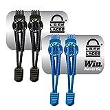 LOCK LACES elastische selbstbindende Schnürsenkel: 2er Schnellschnürsystem für Kinder, Athleten, Erwachsene & Senioren - Keine Schuhe binden erforderlich - Komfort Fit & fester Halt in Einheitsgröße