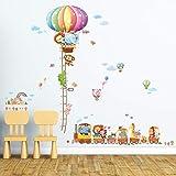 Decowall 1606/1606p1406a/1606p1406b/1606p1506C Animal Hot Air Luftballons Kinder Wand Sticker Wand Aufkleber Abziehen und Aufkleben Wiederablösbare Wandsticker, mehrfarbig, DM-1606P1406A