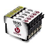Uoopo Compatible Remplacer pour Epson 18XL/T1811 Noirs Cartouches d'Encre Grande Capacité pour Imprimante Epson Expression Home XP-412 XP-322 XP-422 XP-225 XP-305 XP-405 XP-212 XP-215 XP-415 XP-425 XP-315 Impresora, Pack de 5