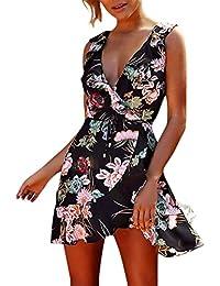 7984e937ea6b Weimilon Vestito Donna Elegante Corto Vintage Abiti Stampa Fiore da  Elegante Unico Cerimonia Smanicato V Scollo con Volant Moda…