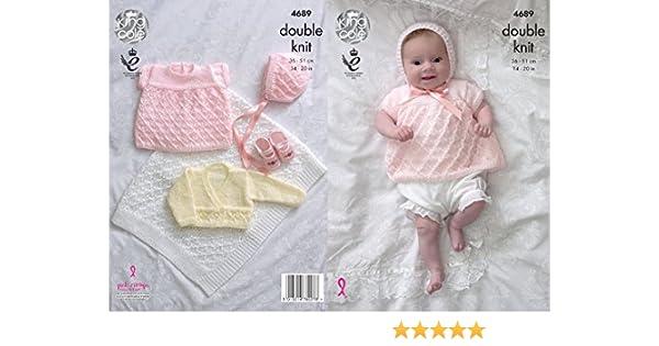 King Cole Baby Double Knitting Pattern Angel Top Cardigan Bonnet /& Blanket 4689