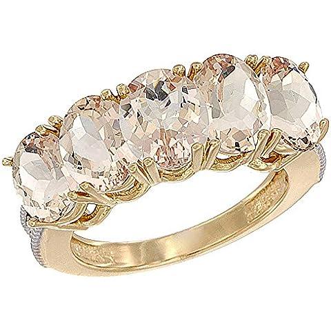 14ct oro amarillo Natural colgantes de 0,67 ct. 7 x 5 mm Oval 5-piedra anillo de madre con detalles en diamante, Tamaños J a T con medias