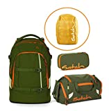 satch Pack Schulrucksack 4er Set Green Phantom + Sporttasche + Schlamperbox + Regencape Orange Green Phantom SIN+DUF+BSC(243)+RAC(969)