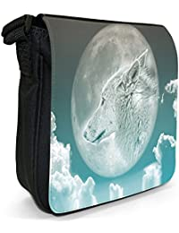 Moonlight Wolf Small Black Canvas Shoulder Bag / Handbag