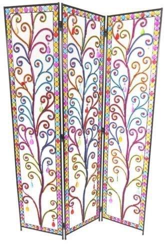 Topfurnishing 3 Panel Tropfenform Bunt Strass Detail Kunstwerk Metall Zimmer Trennwand Bildschirm -