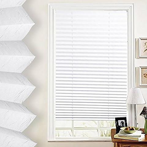 SHINY HOME® 60/80/90/100 x 130cm Elegant Verspannt Klemmfix Faltstore Plissee Faltrollo Jalousie Plisseeroll mit Klemmträger ohne Bohren für Fenster - in 4 Größen | Weiß | 90 x 130