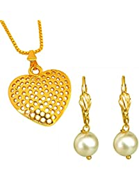 Surat Diamonds Heart Shaped Gold Plated Pendant And Yellow Shell Pearl Floral Wire Earring Set For Women With...