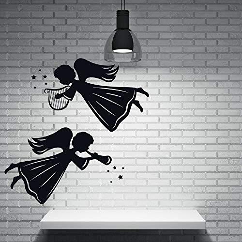 Ajcwhml adesivo murale decorativo angelo e santi applique in vinile ali d'angelo tatuaggio a parete con arpa bio design rimovibile