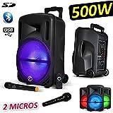 Tragbare Boxen Sono DJ PA Karaoke 600W 12LED USB/BT/SD/PC + 2MIKROFONE + Effekt MagicBall friztal drehbar.