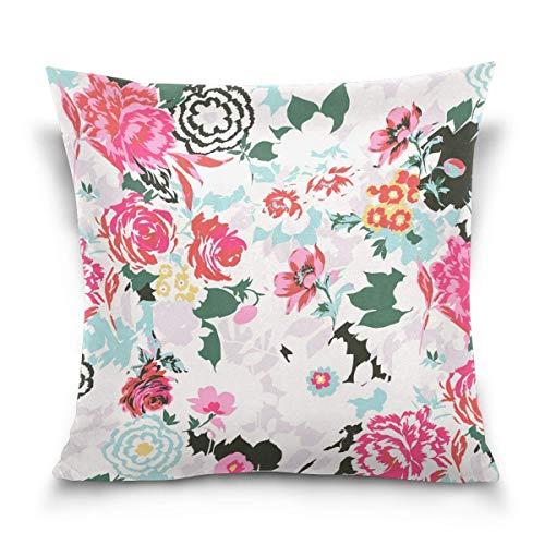 Klotr federe cuscino divano, elegant flowers decorative square throw pillow covers home decor cushion case for sofa bedroom car 18 x 18 inch 45 x 45 cm
