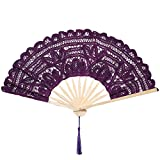 ArtiDeco pizzo pieghevole ventaglio vintage ventaglio con telaio di bambù per party decorazione vintage party costume, Nero