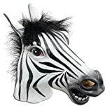 JRing Full Head Zebra Maske Latex Tier Gruselig Halloween Cosplay Party Kostüm, Gummi Masken-Männchen-One Size (Zebra)