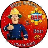 Tortenaufleger Fototorte Tortenbild Kindergeburtstag Feuerwehrmann SAM FS01 (Zuckerpapier) Rund 20 cm Ø