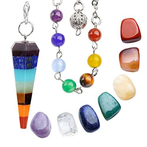 qgem Chakra Curación corazón cristal Kit apilados Capas radiestesia péndulo de adivinación + 7chakra Irregular gemas