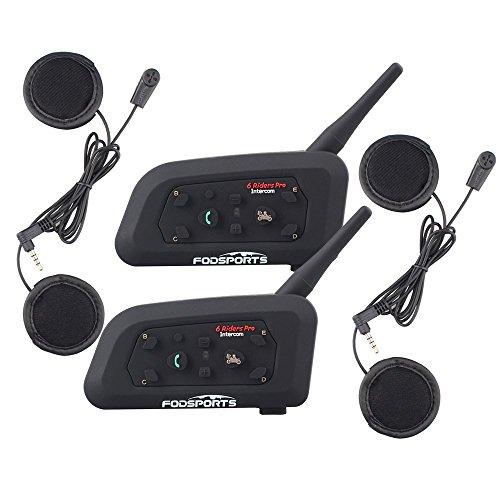 Fodsports Moto Motocicleta Casco Bluetooth BT V6 Intercom Interfono Headset  Intercomunicador Auriculares Walkie-Talkie Equitación Esquí (GPS/MP3/Up