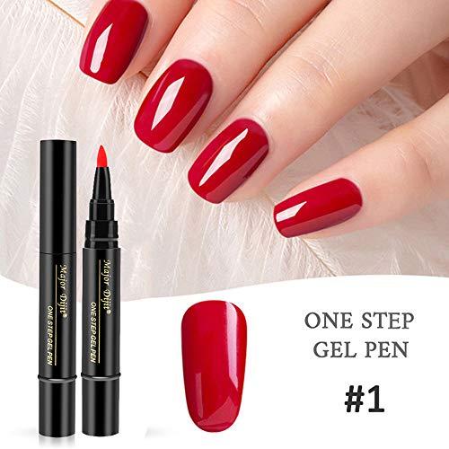 Nagellack Stift, Anself 3-in-1 pen nail art One Step Gel Pen, 18 Farben Nagel Kunst Feder Nageldesign Stift DIY für Nail Art Salon Beauty