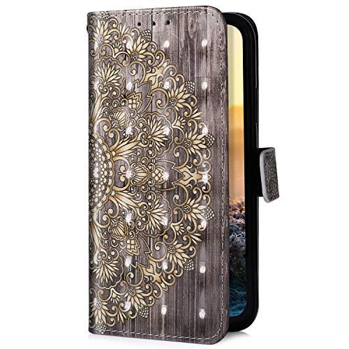 Uposao Kompatibel mit Samsung Galaxy A5 2016 Handyhülle Glitzer Bling 3D Bunt Leder Hülle Flip Schutzhülle Tasche Brieftasche Wallet Bookstyle Case Magnet Kartenfach,Gold Mandala Blume -