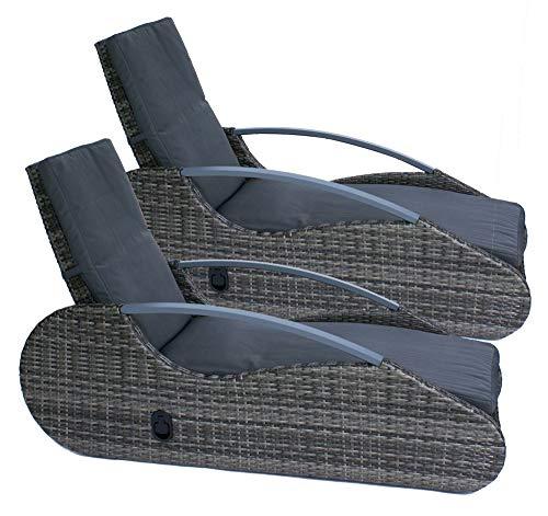 2er Set Polyrattan Liege   Sonnenliege   Gartenliege   Stufenlos Verstellbare Rückenlehne Mittels Hydraulikdämpfer  inkl. Auflage Dunkelgrau   Pulverbeschichteter Aluminium Rahmen   193 x 53,5 x 67cm