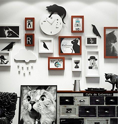 Anzeigen Taos (TAO Haustier-Foto-Wanduhr-dekorativer Rahmen-Katzen-Kombinations-Foto-Rahmen stellte Wohnzubehör-Anzeige 15 Stück-Satz ein ( Farbe : B ))