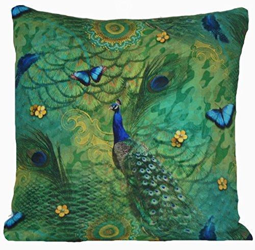 50,8 cm Paon Papillon Housse de coussin Vert Couvre-lit Taie d'oreiller Designers B Imprimé Tissu de coton