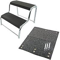 APT Trittstufen in Verschiedenen Ausführungen inkl. Fußmatte, Geprüft bis Max 150kg, Silber (Set 2)