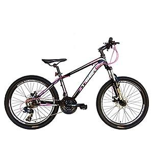 "Tiger Ace 24"" Girls Junior HT Mountain Bike Black/Pink 14"" Alloy Frame 21 Speed"