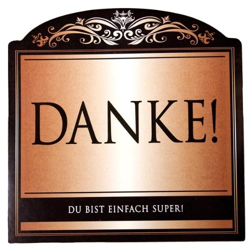 Udo Schmidt Aufkleber Flaschenetikett Etikett Danke du bist super gold elegant