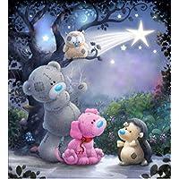 Kit de pintura de diamante 5D de Numbers Teddy Animals DIY Crystal Rhinestone de punto de cruz bordado artes manualidades suministros para decoración de la pared del hogar 30x30 cm