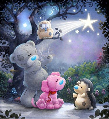 5D Diamant Malen Kit von Malen nach Zahlen,5D Diamant Painting Disney Teddy Bear Tiere DIY Kristall Strass Kreuzstich Stickerei Arts Craft Bild Vorräte für Home Wand-Decor 30x 30cm -