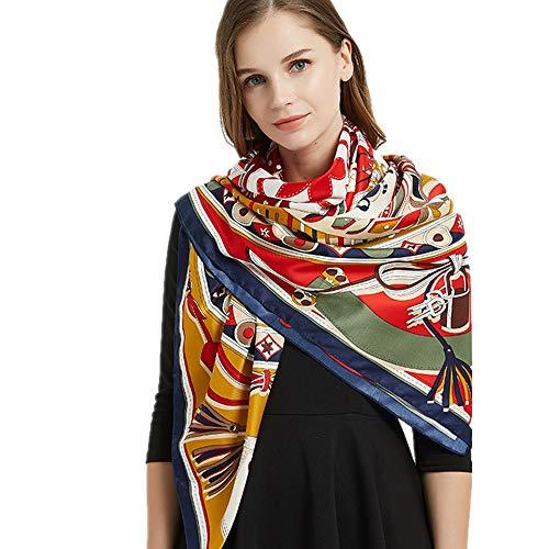 NQING Seidenschal Animal Print Muster Damen Schal C 130x130cm